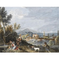 landscape with peasants by a roadside fountain by antonio zucchi