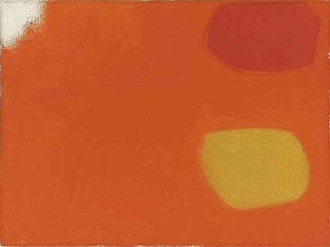vermillion and lemon in orange jan 62 by patrick heron