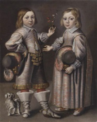double portrait of a boy and girl, aged 4 and 3, holding a sprig of strawberries, with a dog by hendrik munniks