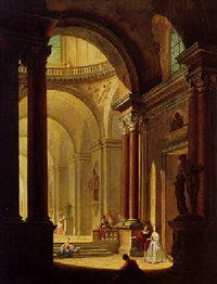 elegant figures in the interior of a palace by philippe meusnier