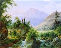 motiv bei hallein mit halleiner aache und untersberg, salzburg by joseph altenkopf