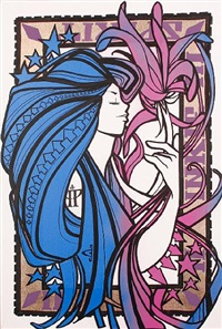 spirit, pink and blue by inkie