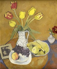 tulips in a white jug by denis frederic neal peploe