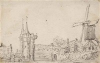 the oostpoort of the town of delft, with a mill by jan josefsz van goyen