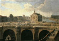 a view of the pont neuf, paris by jean baptiste nicolas raguenet