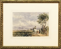 paesaggio campestre con contadini - country landscapes with farmers by david cox the elder