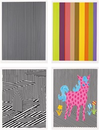 black/silver line; color line; house; and pink pony (4 works) by michael scott