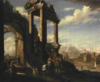 capriccio architettonico con figure by jacopo fabris