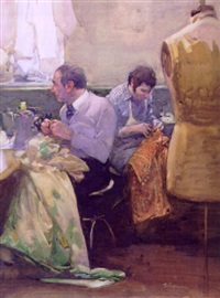 two tailors in dress-making shop by burt silverman