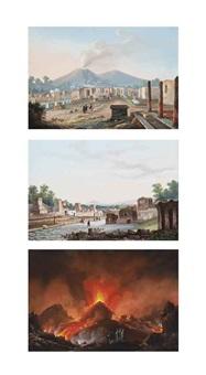 tempio a giovel coll eruzione; crateri del; and strada de sepoleri a pompei (3 works) by la pira