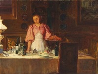 the maid clears the table by cilius (johannes konrad) andersen