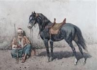 man with horse by giuseppe gabani