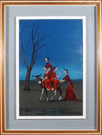 untitled (four monks on a donkey) by mauro rigacci