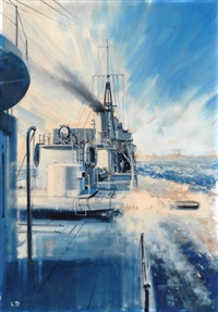 """h.m.s. khartoum"" firing a torpedo (illus. for model boats magazine) by laurie bagley"