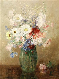 vase of mixed flowers by agnes middleton raeburn