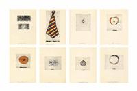 ring; beads; teeth; tie; doughtnut; zipper; hair; tweed; locket, and apple (set of 10) by jim dine