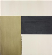 exposed painting, olive green by callum innes