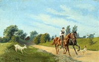 man with horses, dog and goat by karl frederik christian hansen-reistrup