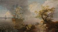 holländischer dreimaster vor stürmischer küste by wigerus vitringa