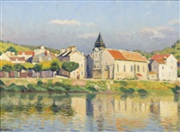 village en bordure de seine by charles victor guilloux