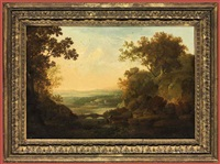 a capriccio river landscape with figures fishing, the temple of vesta on a hill beyond by george smith of chichester