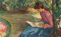 lecture dans le jardin by jean misceslas peské