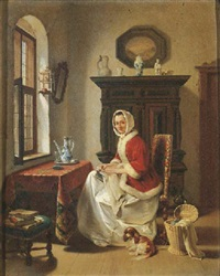 a young lady doing needlework in an interior by willem pieter hoevenaar