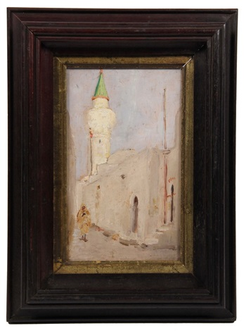 middle eastern street scene with figure and minaret by louis comfort tiffany