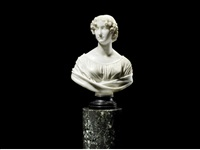 a sculpted white marble bust of a young lady thought to be lady lucy elizabeth georgina bridgeman by lorenzo bartolini