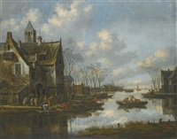 a river landscape beside a village with figures loading their boats by thomas heeremans