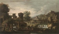an extensive italianate landscape with tobias and the angel by sinibaldo scorza