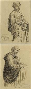 étude de personnage drapé (+ another; 2 works) by louis a. f. (jean-louis) janmot