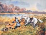 veneur et ses chiens by pierre de la verteville