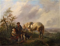 landscape with resting peasant family and a horse by wouter verschuur the elder
