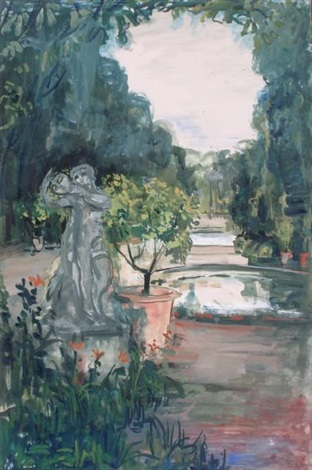 coin de parc à la statue by pierre laprade