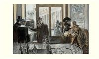 les marchands de billets de theâtre avant d'entrer à l'odeon by henri lanos