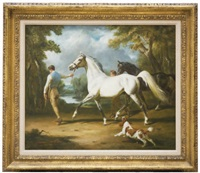 two horses with grooms and a spaniel in a landscape by raoul millais