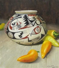 mexican pot with jalapeno peppers by geoffrey allan rock