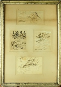notebook sketches (4 works) by george cruikshank