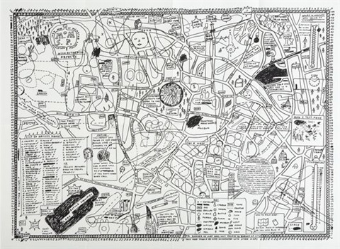 Map of sculpture project in mnster by David Shrigley on artnet