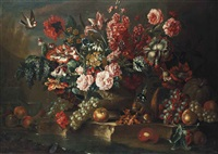 roses, poppies, convolvulus and other flowers in a sculpted urn on a stone ledge, with grapes, peaches, a pumpkin, a squirrel eating hazelnuts... by pieter casteels iii