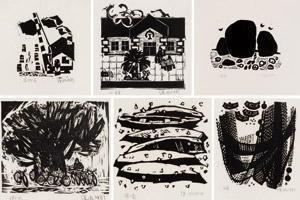 乡村碎玉 (共六件) (days in countryside) (set of 6, various sizes) by xu bing