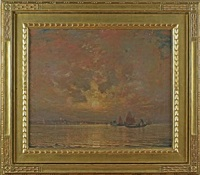 moonrise on the lagoon, venice by hermann dudley murphy