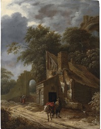 a muleteer on a track with cottages and a ruin beyond by gillis rombouts