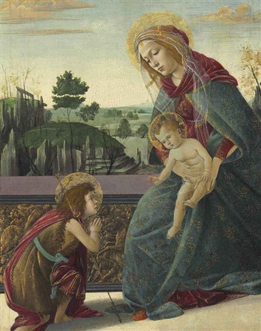 the rockefeller madonna: madonna and child with young saint john the baptist by sandro botticelli