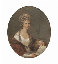 portrait of angelica kauffmann, half-length, in a white dress with a red, fur-lined mantle, holding a sketch by francesco bartolozzi