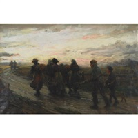 fisherfolk at night on route to the sea by william m. pratt