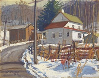 group of 4 watercolors with gouache of pennsylvania landscapes and village views by john r. peirce