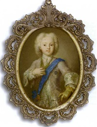 prince charles edward stuart as a child with his gloved left hand resting on his hip, in pale mauve coat with silver button holes, silver waistcoat and lace cravat... by antonio david