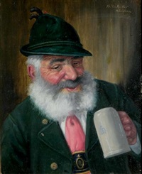 figure with a beerstein by fritz müller